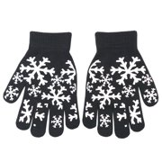 Unisex Black Snowflake Print Ribbed Cuff Gloves
