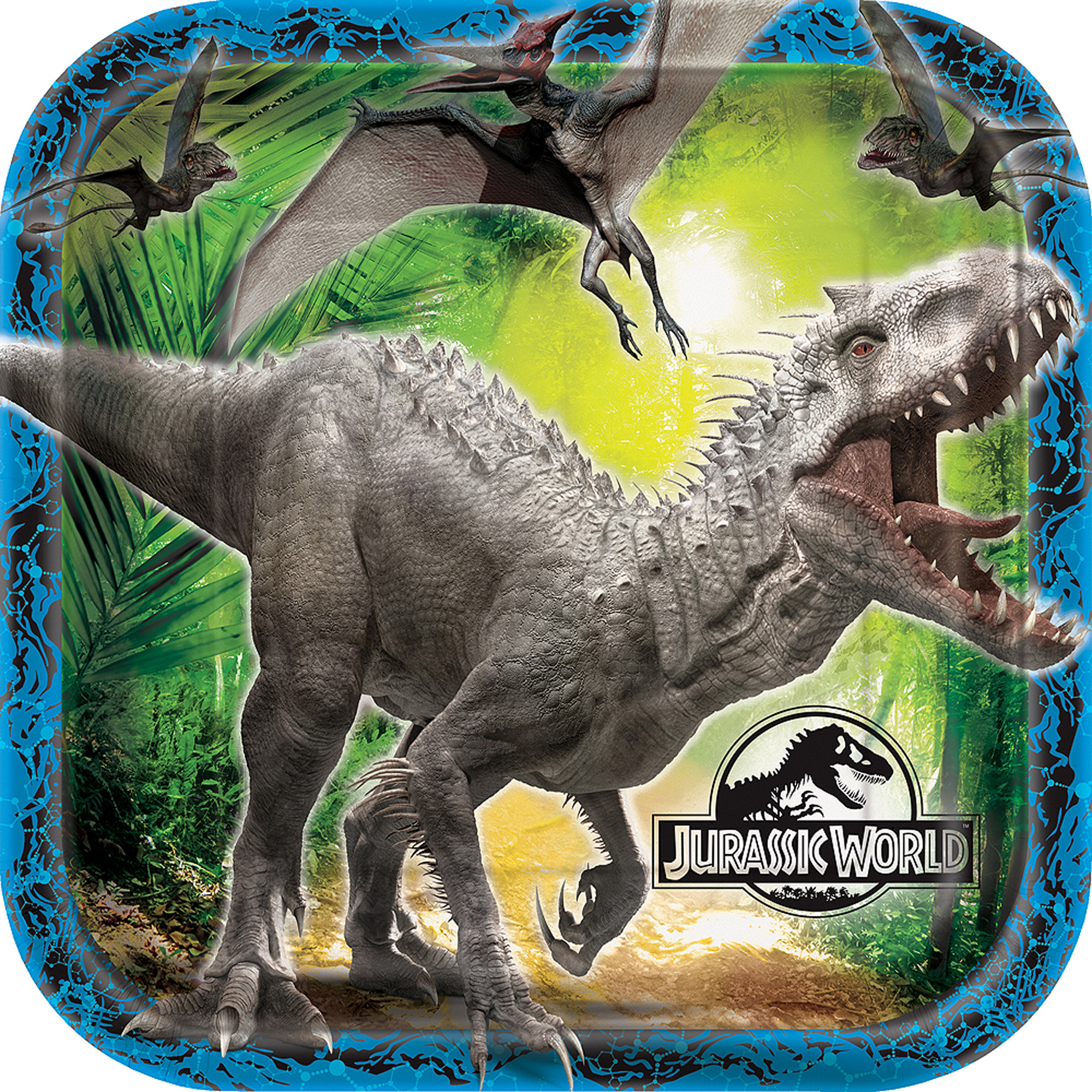 "9"" Square Jurassic World Party Plates, 8ct"
