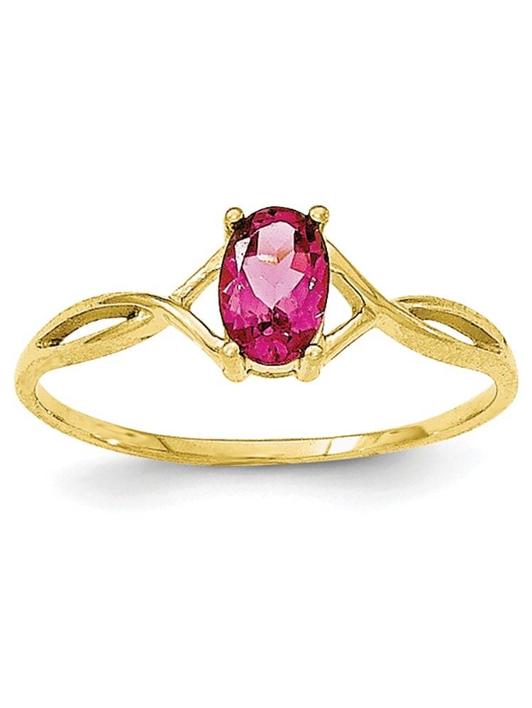 10k Yellow Gold Oval Polished Prong set Pink Tourmaline Ring Size 6 by Jewelryweb