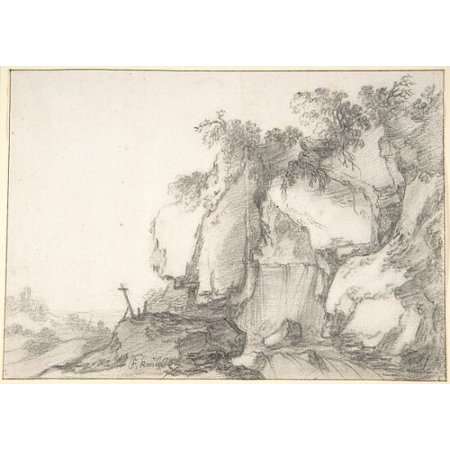 Rocks Overgrown with Bushes Poster Print by Attributed to Francois van Knibbergen (Dutch 159697–after 1664) (18 x 24)
