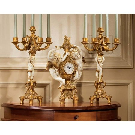 02 Candelabra (French Baroque Cherubs Mantle Clock and Candelabra Ensemble Candle Holder)