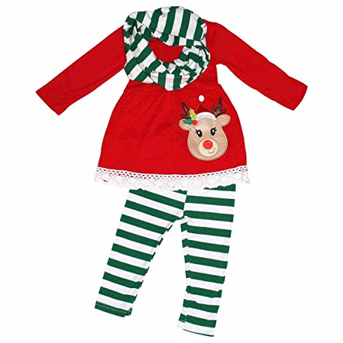 Unique Baby   Girls 3 Piece Striped Rudolph Christmas Legging Set (8) Green    Walmart.com