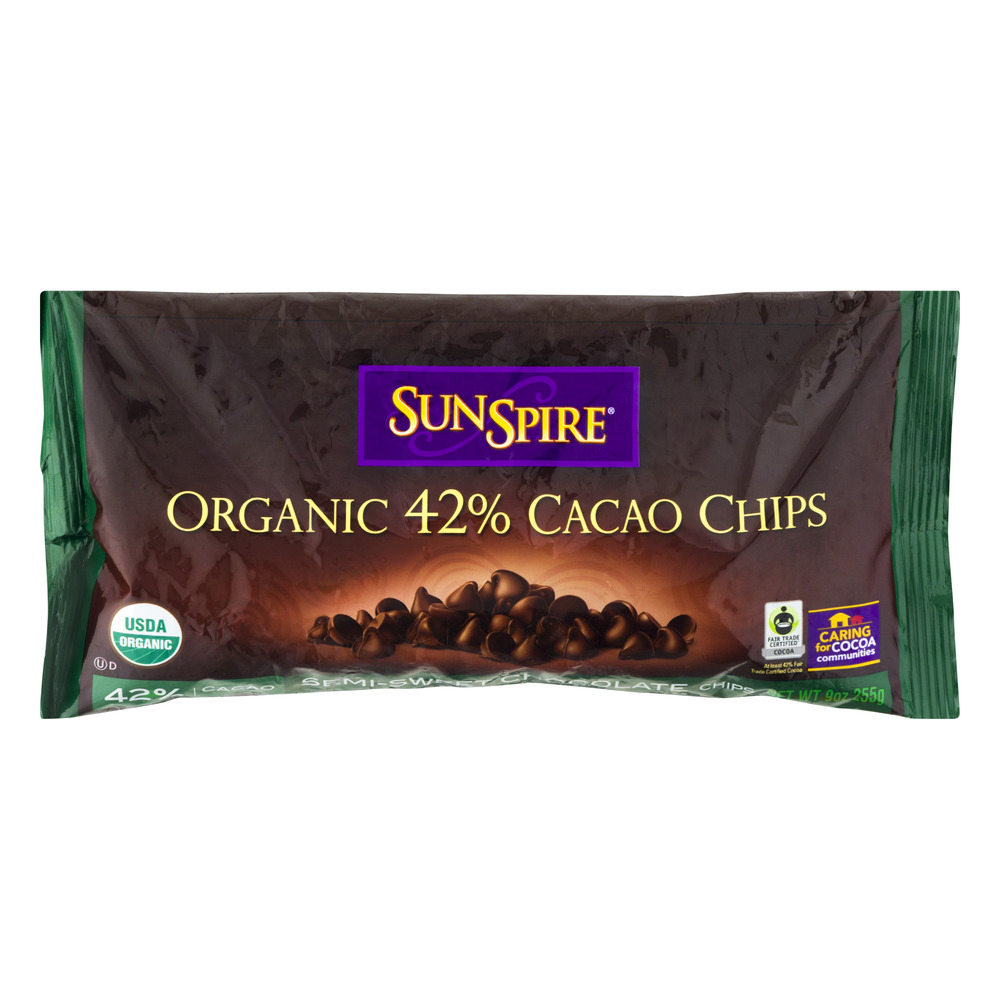 SunSpire Organic 42% Cacao Chips Semi-Sweet Chocolate Chips, 9.0 OZ