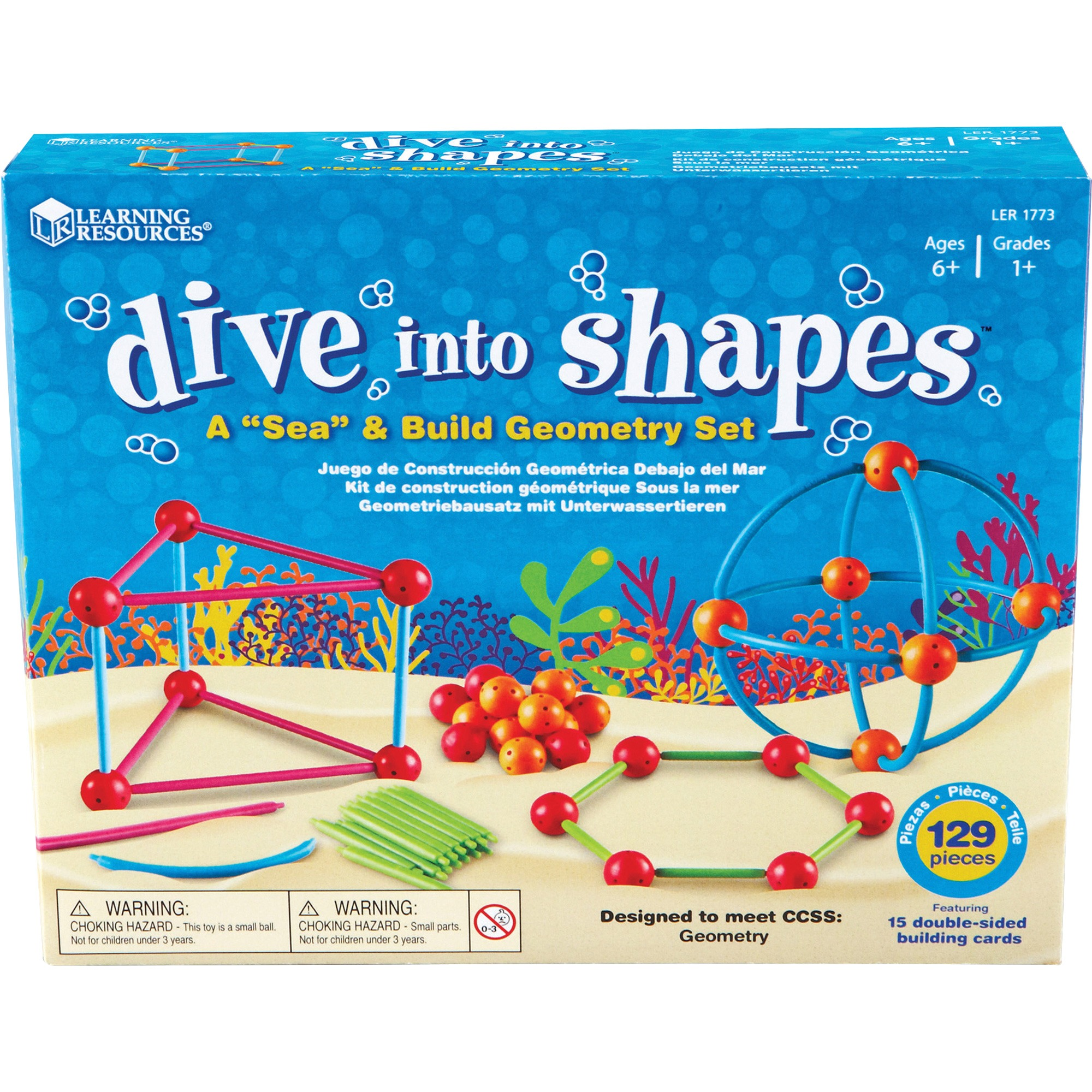 Learning Resources, LRN1773, Dive Shapes Sea/Build Geometry Set, 1 Set, Assorted