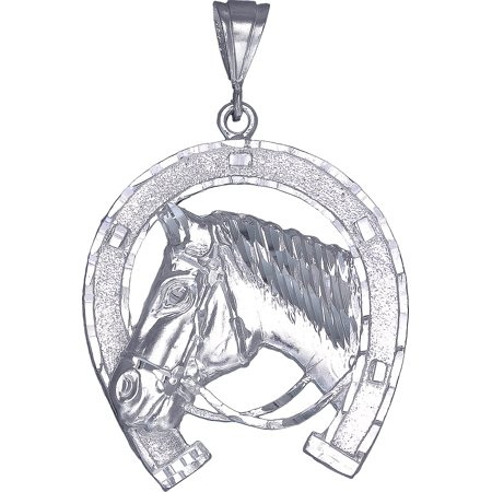 - Large Heavy Sterling Silver Horseshoe with Horse Pendant Necklace 16 Grams 2.75 Inches with Diamond Cut Finish and 24 Inch Figaro Chain
