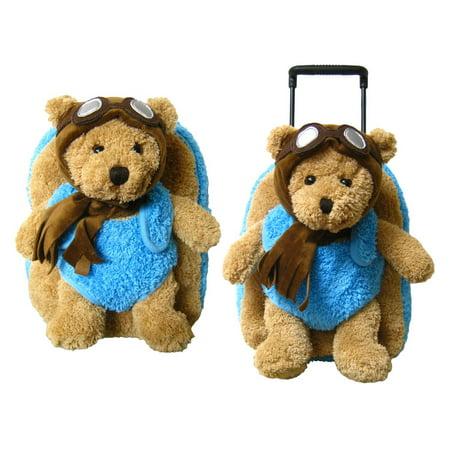 (Mozlly Children's Aviator Pilot Bear Plush Roller Backpack and Kreative Kids Blue Aviator Pilot Bear Plush Backpack (2pc Set) Kid's Luggage and Childrens Super Soft Bags)
