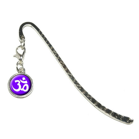 Om Aum Yoga White on Purple Metal Bookmark with Charm (Yoga Charms)