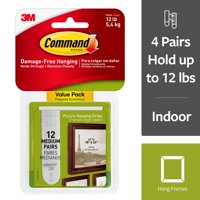 Command Damage-Free Medium Picture Hanging Strips, 12 Pairs (24 Strips)
