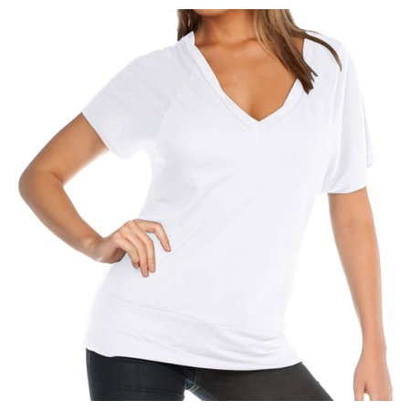 - Kavio! Women Sheer Jersey Twstd Band Hem Deep V Neck Dolman Short Sleeve Slcn Wsh. White L