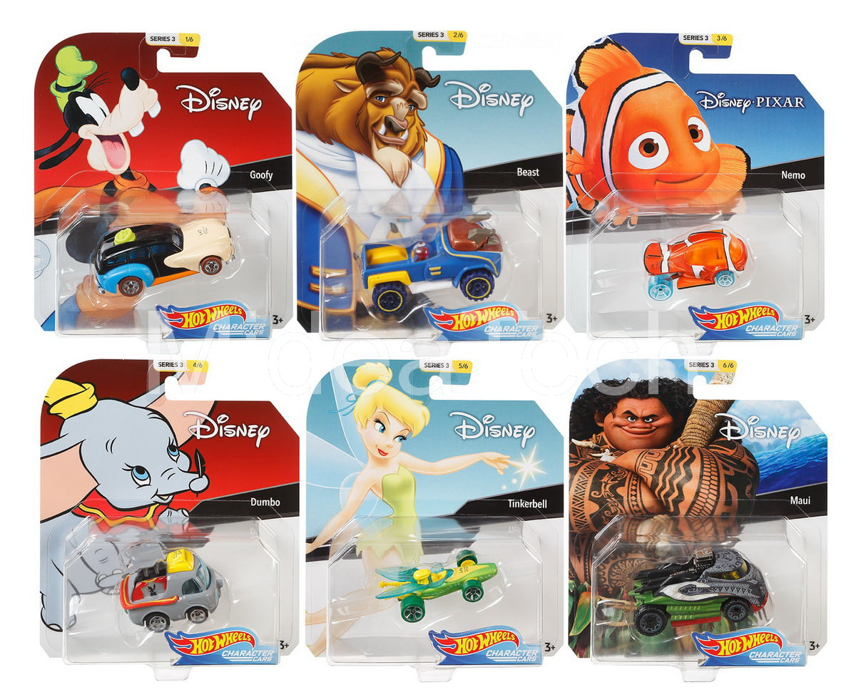 2019 Hot Wheels 1 64 Disney Pixar Character Cars Series 3, Set of 6 Collectible Die Cast Toy Cars by