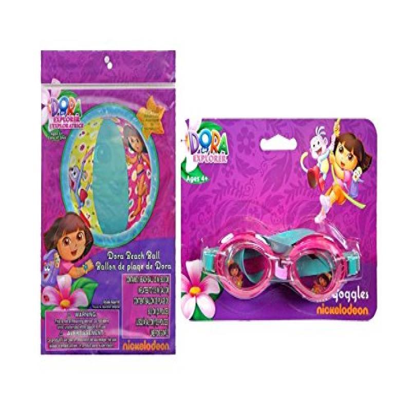 "Dora the Explorer Inflatable 20"" Beach Ball Pool Toy Plus Bonus Dora 1pk Splash... by"