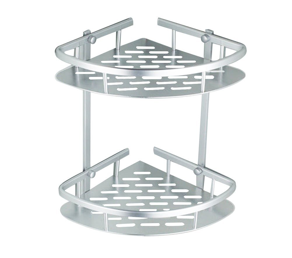 Anti-rust Wall Mounted Space Aluminum 2-Tier Shower Caddy Shelf Bathroom Corner Bath Rack... by