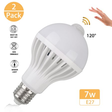 2-pack 7W E27 LED PIR Motion Sensor Auto Energy Saving Light Lamp Bulb Infrared