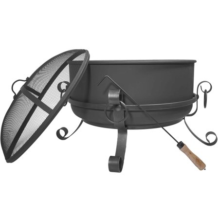 Titan 24 Inch Large Steel Cauldron Fire Pit with Spark Screen (Large Cauldron)