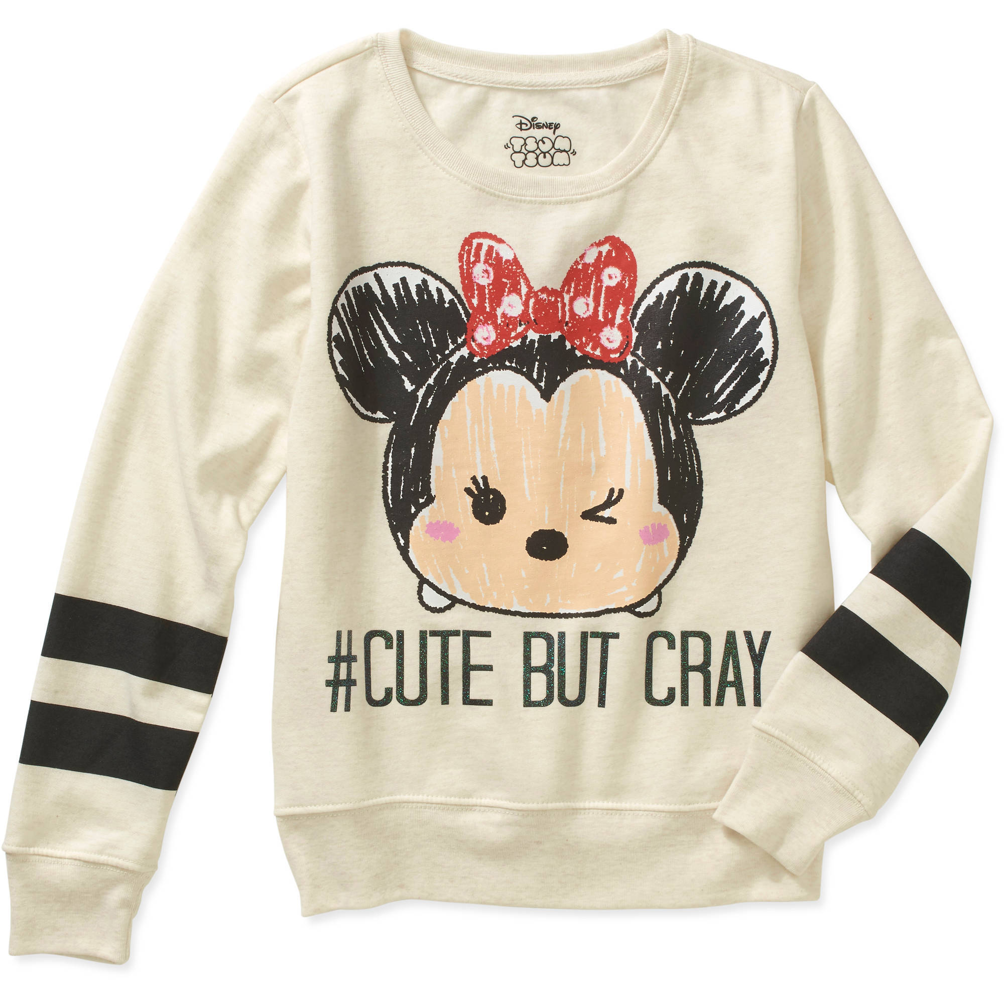 Girls' Cute But Cray Long Sleeve Crew Neck Varsity Sweater