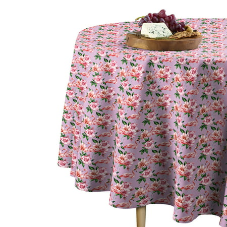 """Fabric Textile Products Floral Flamingos Tablecloth 60"""" Round"""