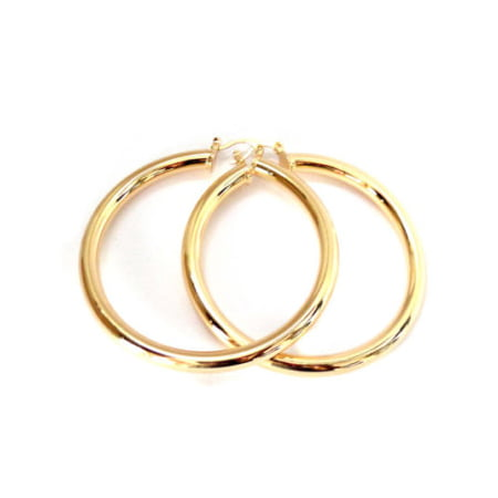 Large Gold Hoop Earrings Gold Tone 3 inch Tube Hoops Gold Brass Plated Hoops Antique Gold Brass Jewelry Earring