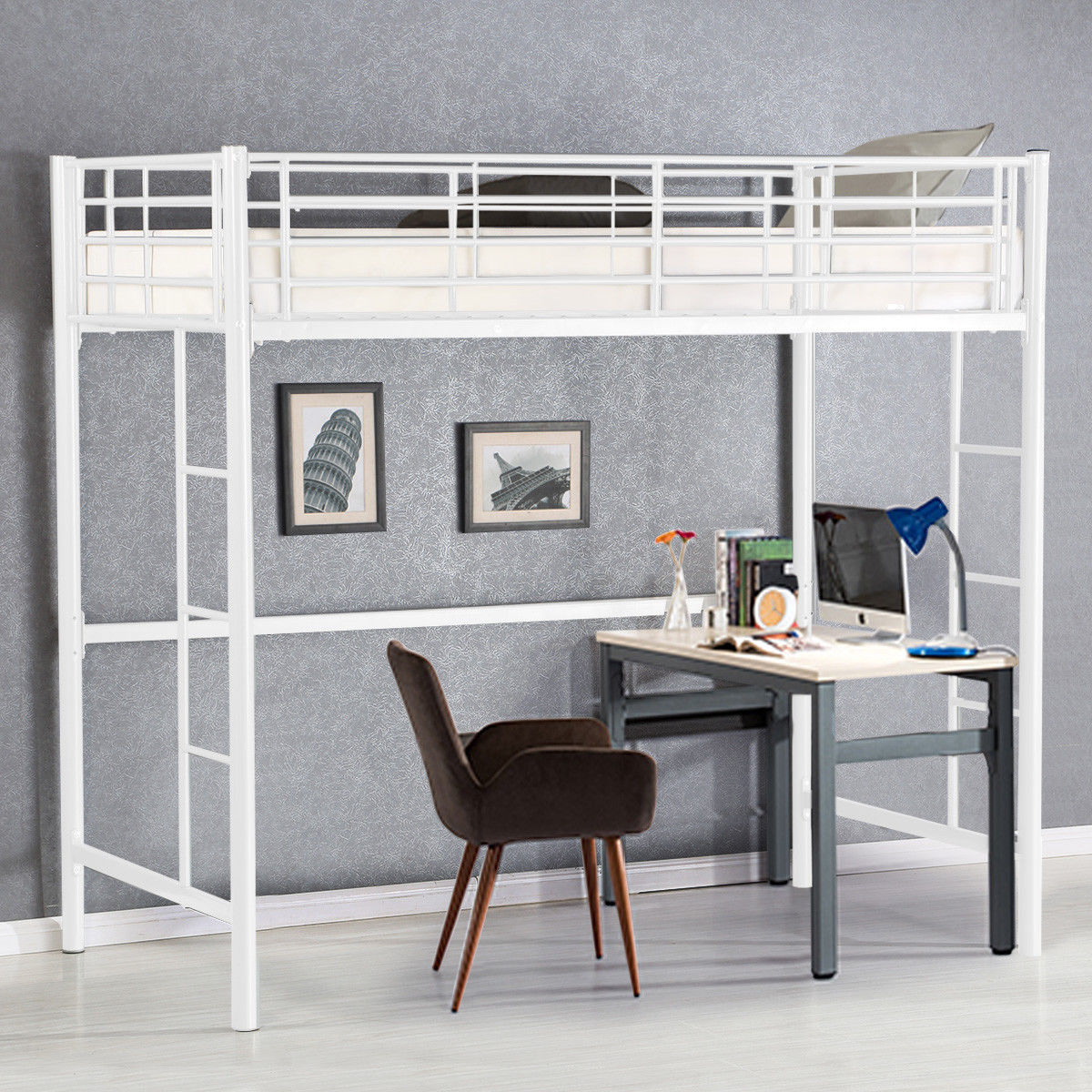Gymax Twin Loft Bed Metal Bunk Ladder Beds Boys Girls Teens Kids Bedroom Dorm White