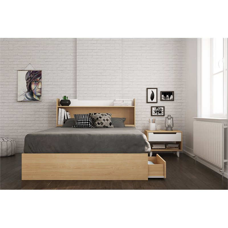 Nomad 3 Piece Full Size Bedroom Set Natural Maple & White ...