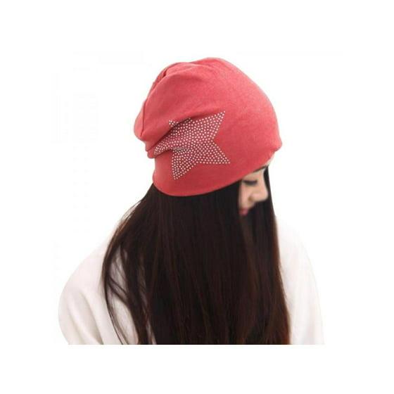 58b353cbfdb Babula - Babula Unisex Five-Pointed Star Rhinestone Beanie Hats -  Walmart.com