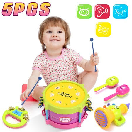 On Clearance Kids Fashion 5pcs Kids Baby Learning Toy Roll Drum Musical Instruments Band Kit Children Toy Set Xmas (Best Toddler Drum Set)