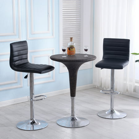 Belleze Set of (2) Faux Leather Hydraulic Swivel Gas Lift Height Adjustable Bar Stool, Black