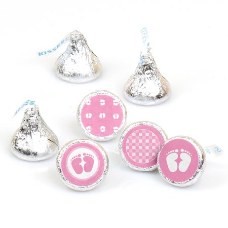 Baby Feet Pink - 108 Round Candy Labels Baby Shower Favors - Fits Hershey's Kisses - Candy Baby Shower