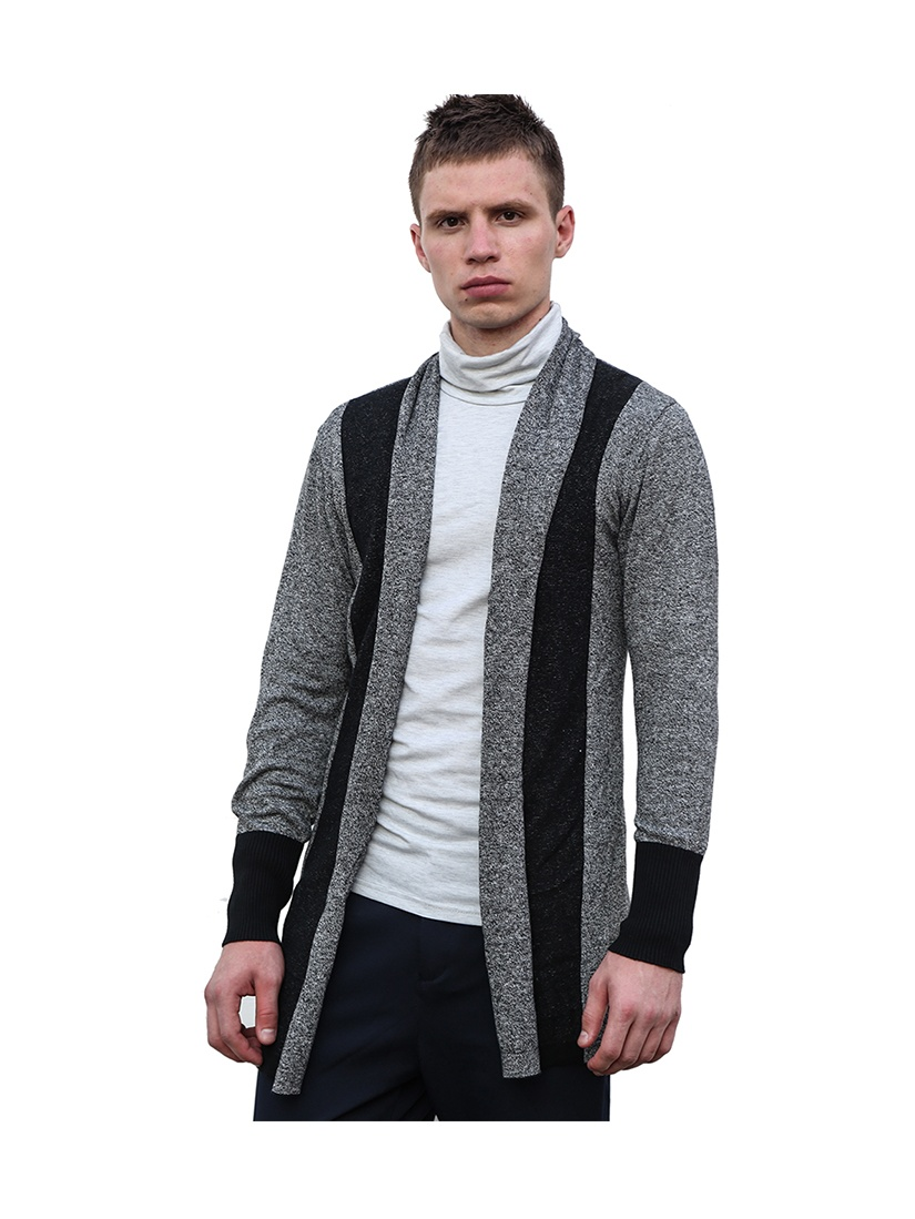 Men's Shawl Collar Contrast Color Open Front Knit Cardigan Gray (Size M / 38)