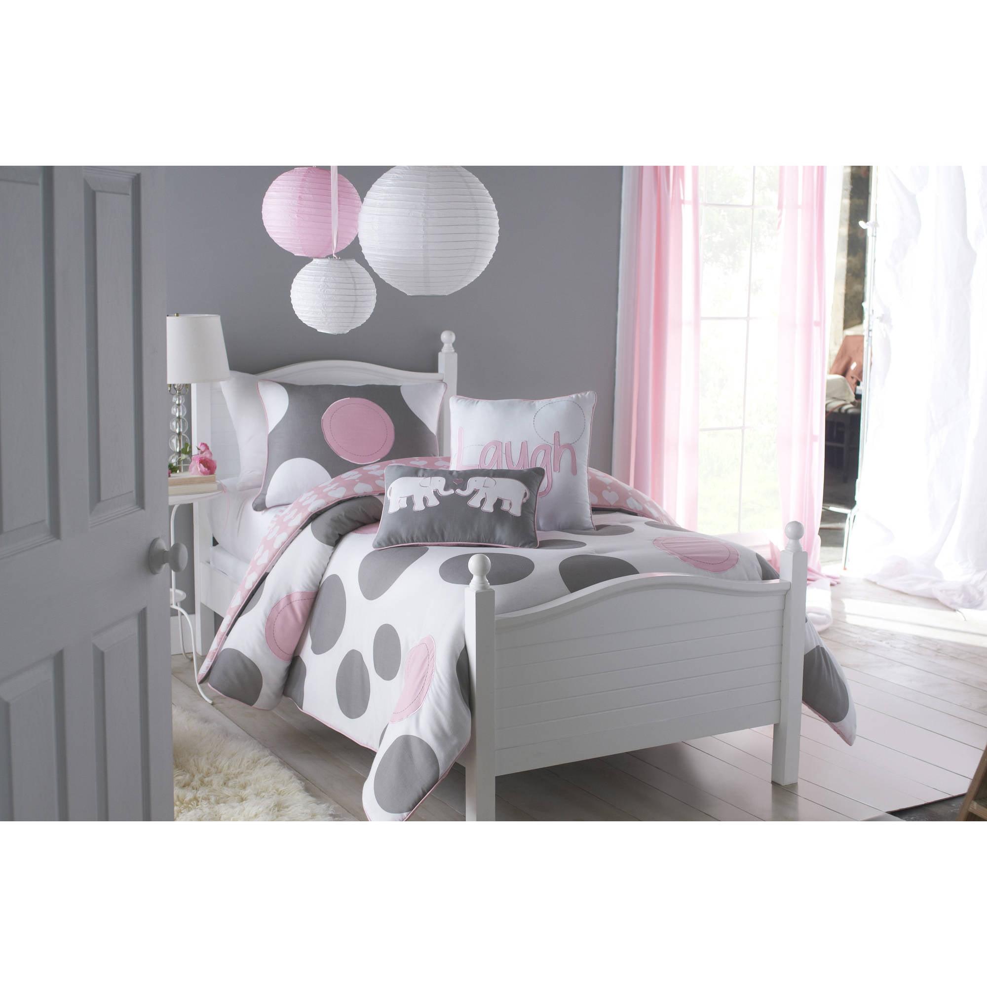 VCNY Home Pink Parade Polka-Dot Reversible Kids Bedding Comforter Set