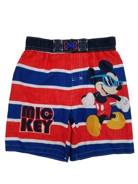 Disney Mickey Mouse Infant & Toddler Boys Striped Swim Trunks Board Shorts