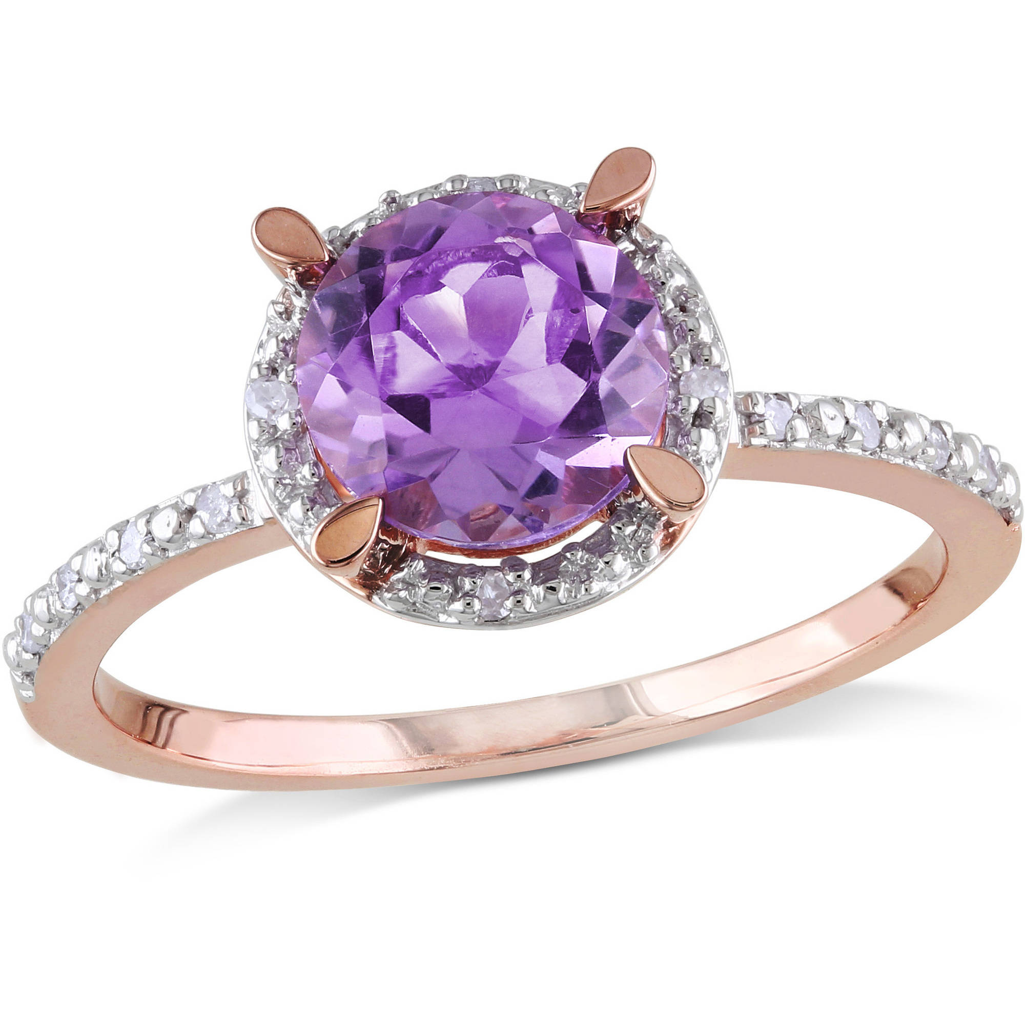 1-1 3 Carat T.G.W. Amethyst and Diamond-Accent 10kt Pink Gold Halo Ring by Generic