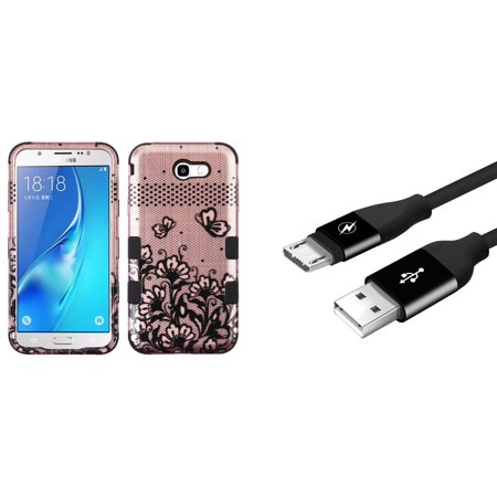 Samsung Galaxy J7 Sky Pro 4G LTE - Bundle: TUFF Series [Military Grade - MIL-STD 810G-516.6] Case (Lace Flower), Durable [5000+ Bends Lifespan] Micro USB Data Sync Charger Cable, Atom Cloth
