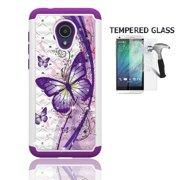 Phone Case for Straight Talk Alcatel TCL LX / TracFone Alcatel TCL LX / Alcatel idealXTRA Case / Alcatel 1X Evolve, Studded Diamond Cover Case + Tempered Glass Screen Protector (White-purple butterfly