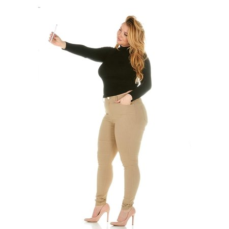CG JEANS Plus Size Juniors High Waisted Rise Skinny Khaki Stretchy Cute Fit, Brown, 24 (Fit 24)
