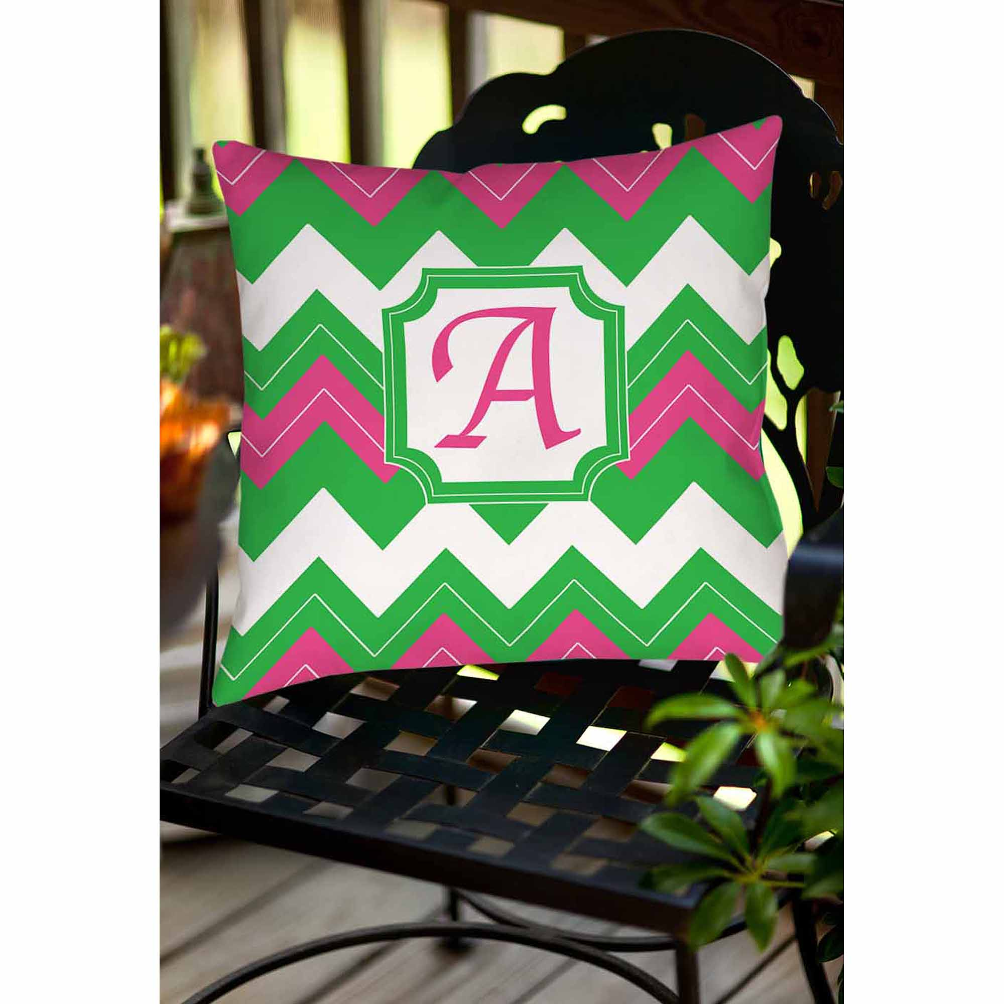 Thumbprintz Chevron Monogram Decorative Pillow, Fuchsia