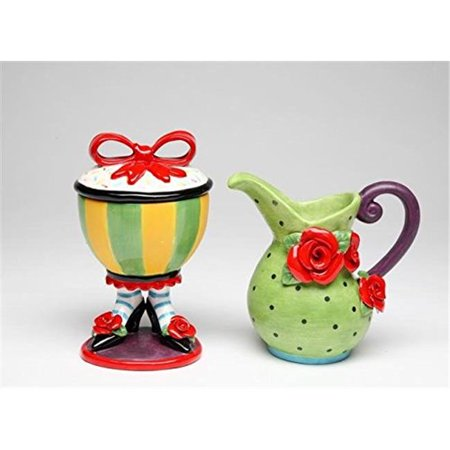 Cosmos Gifts 618575 Yellow And Green Sugar Bowl On Shoes And Green Creamer Set   0 38 In