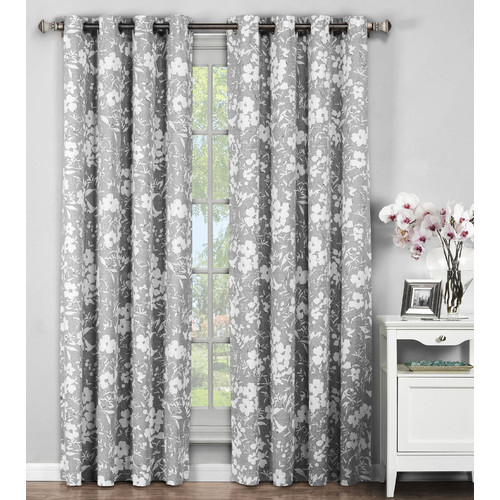 Florabotanica Printed Cotton Extra Wide Grommet Curtain Panel Pairs