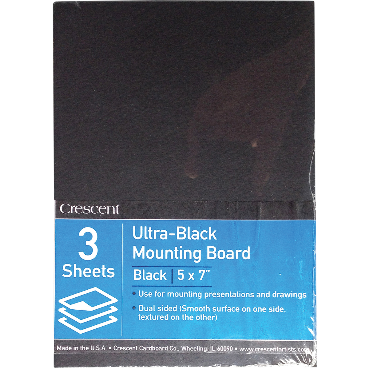 "Crescent Ultra-Black Mounting Board Value Pack 3/Pkg-5""X7"""