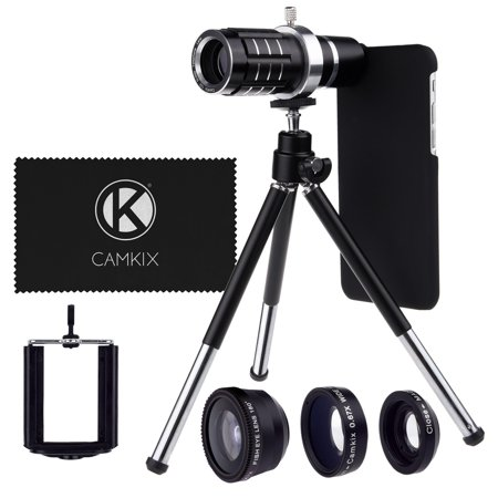 Camera Lens Kit for Apple iPhone 6 / 6S incl. 12x Telephoto Lens, Fisheye Lens, Macro Lens, Wide Angle Lens, Tripod, Phone Holder, Holder Ring, Hard Case, Bag and Cleaning