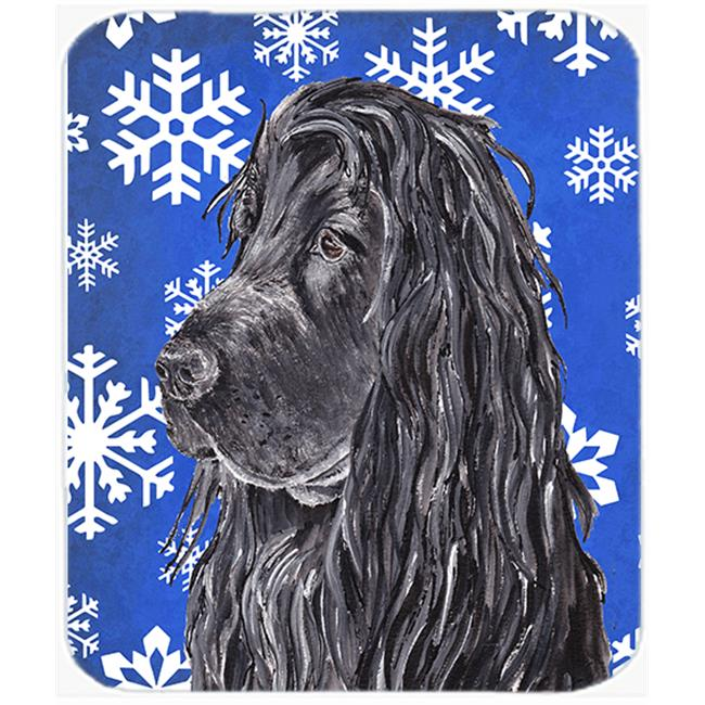 7.75 x 9.25 in. English Cocker Spaniel Blue Snowflake Winter Mouse Pad, Hot Pad or Trivet