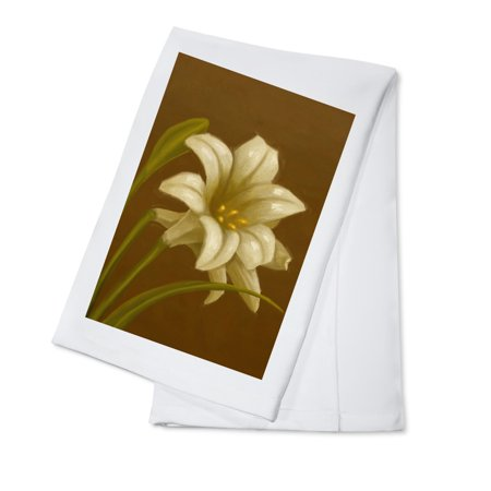 Lilies Oil Painting - Easter Lily - Oil Painting - Lantern Press Artwork (100% Cotton Kitchen Towel)