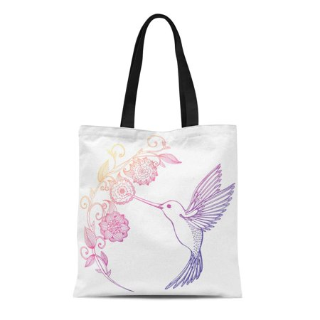 SIDONKU Canvas Bag Resuable Tote Grocery Shopping Bags Flying Hummingbird and Flowers Bird Drinking Nectar From Line Drawing Doodle Tat Tote (Nectar Home Store)