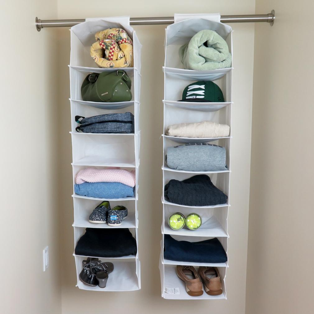Evelots Set Of 2   8 Shelf Hanging Closet Organizers, White