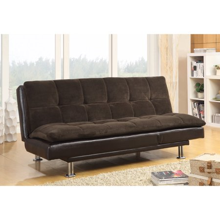Casual Style Soothing Sofa Bed with Chrome Legs, Brown (Casual Sofa)