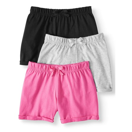 Girls' Casual Knit Shorts, 3-Pack