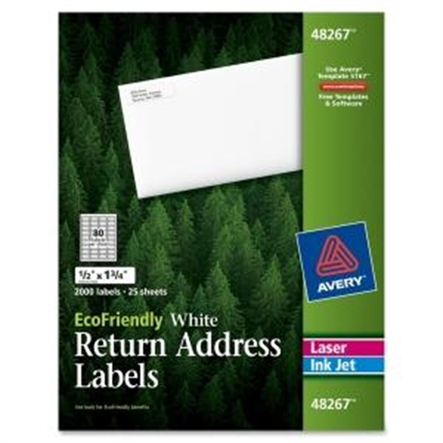 "Avery 1/2"" x 1-3/4"" EcoFriendly Labels, White, Pack of 2000"