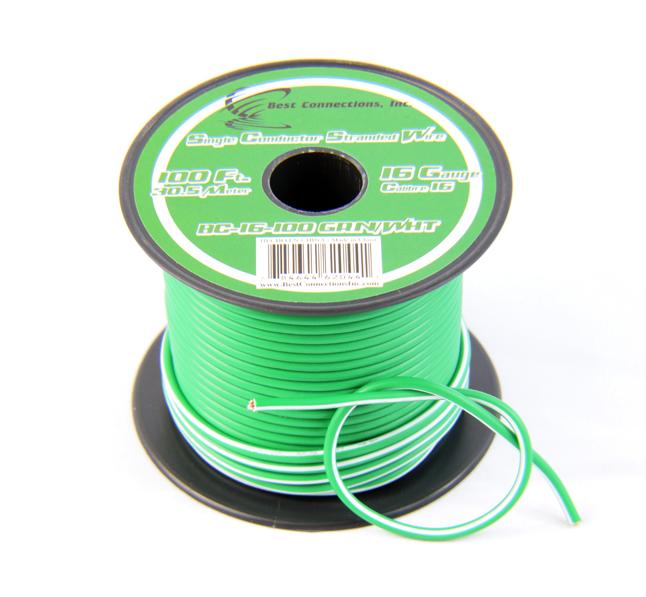 16 Gauge Green with White Stripe Tracer Wire - 100' FT