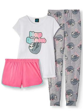 Jellifish Kids Girl's 3-piece pajama sleep set - short sleeve pajama top, pant, short(little girls & big girls)