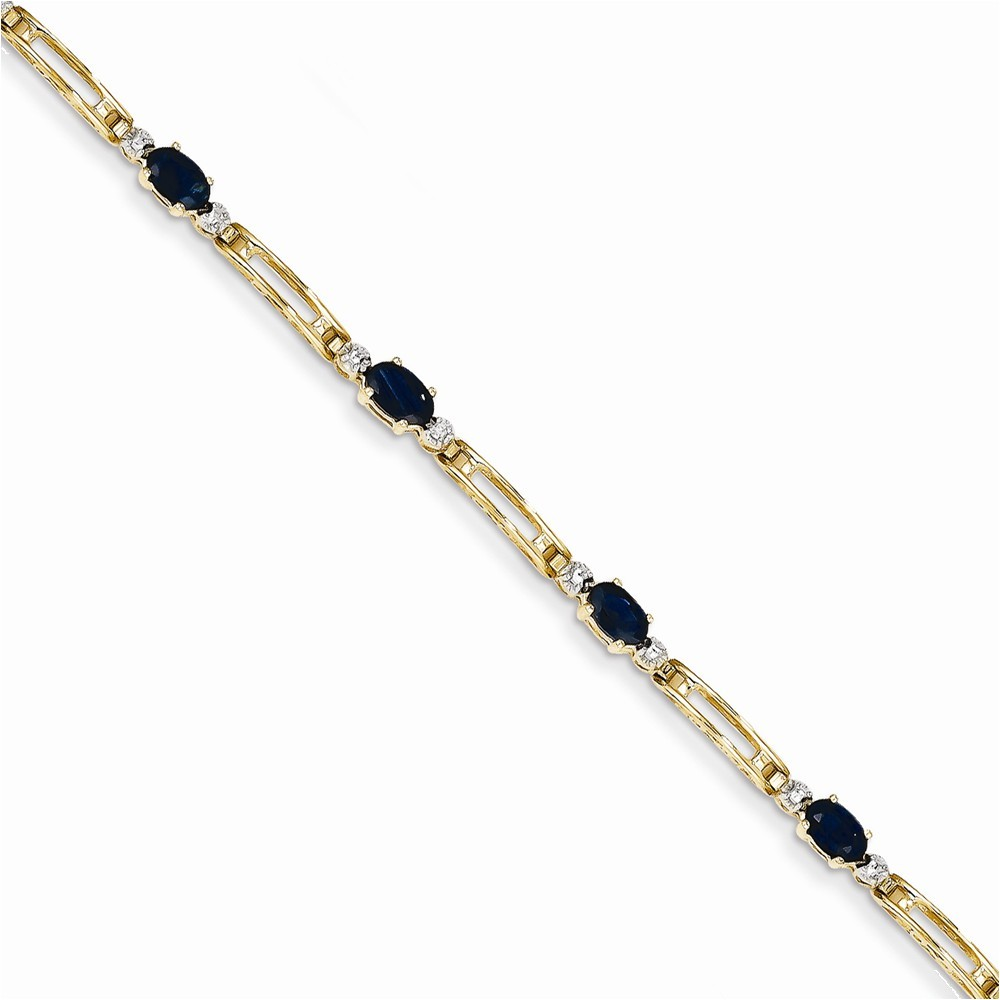 14k Completed Fancy Diamond/Sapphire Bracelet Diamond quality BB (I3 clarity, I-J color)