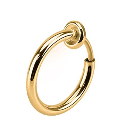 White Gold Spring Ring - BodyJ4You Non-Piercing Septum Hoop Spring Action Goldtone Fake Body Jewelry